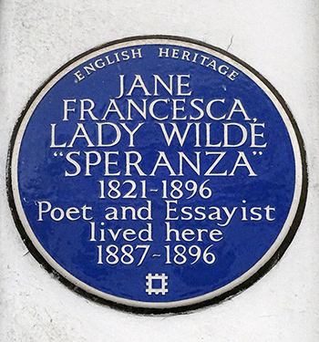 Lady Wilde blue plaque, London